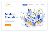 Modern education isometric landing page template. Using computer technologies in studies. E-learning, distance education opportunities. Innovative teaching approach website page design layout