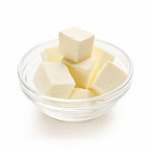 Cubes of butter in bowl