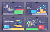 Presentation slide templates or hero pages for websites, or apps. Business concept illustrations. Modern flat style