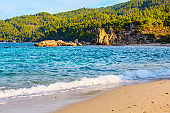 Rocks and sea in Vourvourou, Chalkidiki, Greece