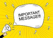 Megaphone banner announcement.