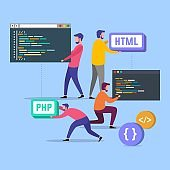 Programming web development concept. Programmers code the website