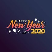 Happy New Year 2020 greeting card vector illustration