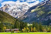 Kandersteg panorama, snow mountains, Switzerland