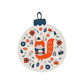 Christmas decoration Christmas ball. Vector illustration.