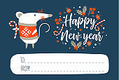 Happy New Year!. Invitation to a festive event with a cute mouse, a symbol of the new year 2020. Vector illustration.