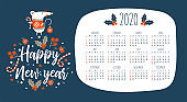 2020 calendar with the symbol of the year of the mouse.  Vector illustration.
