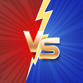 Lightning strike vs letter energy conflict game versus screen action fight competition background vector graphic illustration