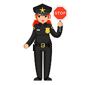 Female police officer stop sign policeman woman law justice cop crime protection cartoon flat design character isolated vector illustration