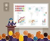 Tribune speech speaking large audiences global issues climate change crowd female character world campaigning human rights flat design vector illustration