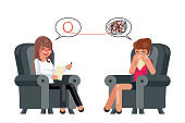 Psychologist depression consultation advice patient sitting talking character flat design vector illustration