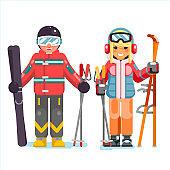 Ski recreation skier mountain winter mountains vacation skiing isolated flat design vector illustration