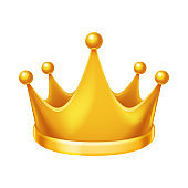 Cute cheerful king ruler on throne crown on head power and scepter in hands cartoon character 3d realistic isolated vector illustration [Converted]