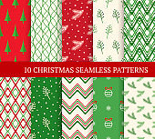 Ten Christmas different seamless patterns. Xmas endless texture for wallpaper, web page background, wrapping paper. Retro style. Waves, zigzags, trees, Christmas balls and branches