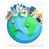 Trash polluted planet earth sad suffer tired sick environmental pollution cartoon flat design vector illustration