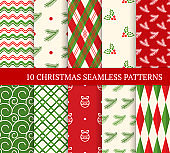 Ten Christmas different seamless patterns. Xmas endless texture for wallpaper, web page background, wrapping paper and etc. Retro style. Waves, argyles, holly berries, fir twigs and Christmas balls