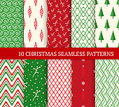 Ten Christmas different seamless patterns. Xmas endless texture for wallpaper, web page background, wrapping paper. Retro style. Waves, zigzags, trees, Christmas decorations and branches
