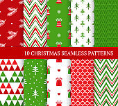 Ten Christmas different seamless patterns. Xmas endless texture for wallpaper, web page background, wrapping paper and etc. Retro style. Zigzags, bells, curls, gifts, fir branches and Christmas trees