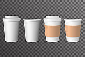 Coffee cup takeaway with cover 3d realistic mockup transparent background design vector illustration