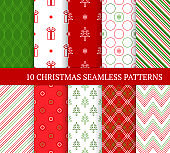 Ten Christmas different seamless patterns. Xmas linear endless textures for wallpaper, web page background, wrapping paper and etc. Retro style. Zigzags, snowflakes, gifts, lines and Christmas trees