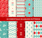 Ten Christmas different seamless patterns. Xmas endless texture for wallpaper, web page background, wrapping paper and etc. Retro style. Waves, curved lines, fir branches, Christmas balls and bells