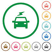 Electric car with flash flat icons with outlines