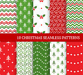 Ten Christmas different seamless patterns. Xmas endless texture for wallpaper, web page background, wrapping paper and etc. Retro style. Waves, snowflakes, curls, lights, holly and Christmas trees
