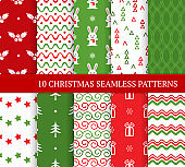 Ten Christmas different seamless patterns. Xmas endless texture for wallpaper, web page background, wrapping paper and etc. Retro style. Waves, bunnies, curls, stars, holly and Christmas trees