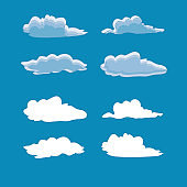 Cloud icon set. Blue and white clouds on blue background art design