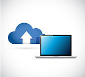 Cloud computing and laptop connection concept