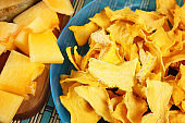 Tasty vegetable chips made of pumpkin. Healthy dietary food