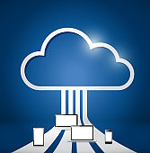 Cloud computing electronics network illustration