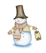 Snowman with hat, scarf, street oil lamp and mittens isolated on white background.