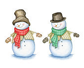 Snowman with hat, scarf and mittens isolated on white background. Watercolor Illustration