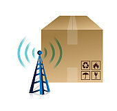 Box and wifi tower illustration design