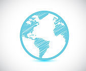 Globe world map illustration design