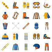 Winter sport icon collection.  Set with equipment, wear and shoes. Ski and snowboard. Vector illustration.