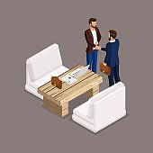 Isometric people isometric businessmen, negotiations, business meeting, shaking hands, the negotiating table. Laptop, documents, graphics