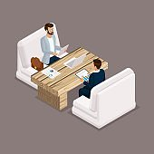 Isometric people isometric businessmen, negotiation, investment, graphic, business meeting. Office modern furniture, modern technology. Vector illustration