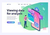 Isometric concept View data for analysis. A young entrepreneur works with data on the smartphone screen. For advertising concepts and web design