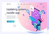 Isometric concept Update the mobile application system, the girl updates the system on her smartphone. For advertising concepts and web design