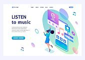 Isometric concept The girl listens to music on the smartphone through the app, dancing and rejoicing. For advertising concepts and web design
