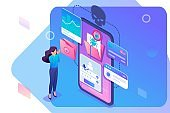 Isometric concept Phishing link, theft of data from the mobile application, credit card data and user passwords, the girl in shock. Concept for web design