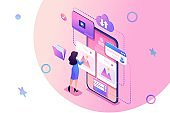 Isometric concept Publish your stories on the social network,a young girl puts her photos on the Internet. Concept for web design
