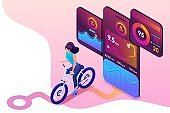 Isometric concept young girl on bike, a mobile app tracks the workout, the GPS signal. Concept for web design