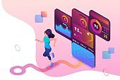 Isometric concept young girl Jogging, running mobile app tracks the workout, the GPS signal. Concept for web design