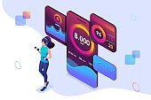 Isometric concept young girl is engaged in power training mobile app tracks your activity. Concept for web design