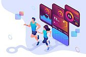Isometric concept train together, reach your goal using the mobile app to track your activity. Concept for web design