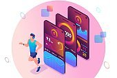 Isometric concept The mobile app tracks a person's training. Athlete training, a man running. Concept for web design