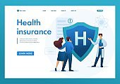 Young doctor offers health insurance to the couple. Flat 2D character. Landing page concepts and web design